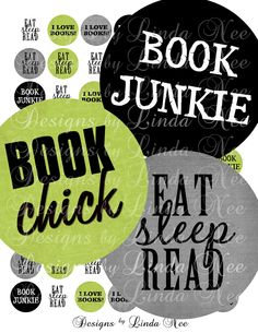 Instant Download - NEW- BOOK Junkie (1 Inch Round) Images  Sale - Digital Collage Sheet scrapbooking printable stickers card ephemera (3.95 USD) by DesignsbyLindaNee