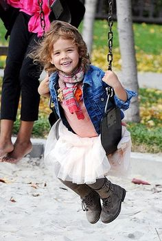 Honor Warren, Jessica Alba's daughter, wearing our Fiesta Flores top from our Modern Mexico collection.
