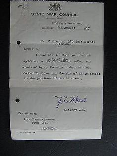 WW1 ANZAC SERVICEMAN C J Vernon 320 Swan St Richmond