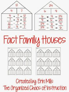 Freebie-addition/subtraction and multiplication/division fact family houses! 9 per page :)