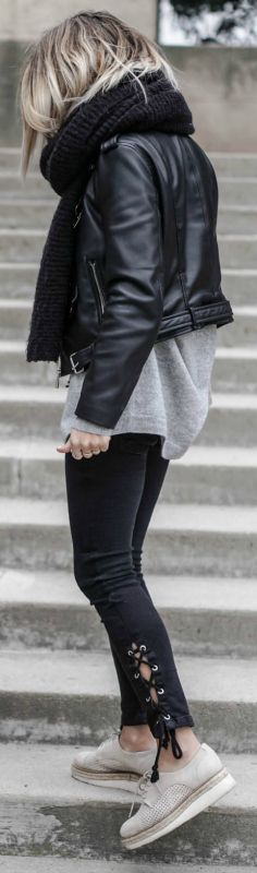 Camille Callen + leather jacket trend + alternative style lace up jeans + knit scarf + trendy and edgy monochrome look   Top: Zara, Jacket: Princesse Tam Tam, Jeans: Mango.