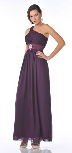 One Shoulder Eggplant Formal Gown Empire Chiffon Rhinestone Brooch $117.99