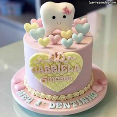 Unique Birthday Cakes, Baby Birthday Cakes, Cookie Decorating Party, Cake Decorating Videos, Fondant Cakes, Cupcake Cakes, Dental Cake, Doctor Cake, Tooth Cake