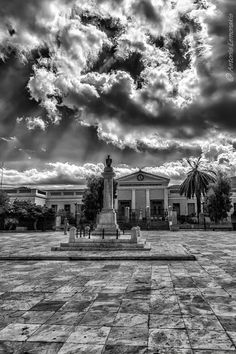 The square in Chora, Andros, Greece, where my great, great uncle's statue…