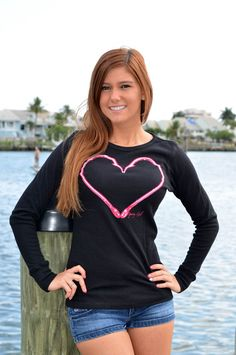 Long sleeve fishing heart hook clothing