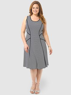 Contrast Binding Dress by Karen Kane, Available in sizes 0X-3X