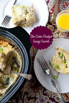 This crockpot sausage breakfast casserole is great to make for company! Plus prepping it the night before allows you to spend more time with friends and family. Slow Cooker Breakfast, Breakfast Casserole Sausage, Paleo Breakfast, Breakfast Recipes, Egg Casserole, Breakfast Ideas, Breakfast Burritos, Paleo Recipes, Crockpot Recipes