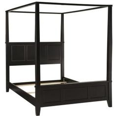 Home Styles Bedford King Headboard, Footboard and Frame Canopy Bed Set, Black Queen Canopy Bed, Queen Beds, Canopy Beds, Queen Headboard, Headboard And Footboard, Black Headboard, Wood Headboard, Bedroom Sets, Bedding Sets