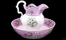 Beautiful 1840s Antique English Pink on White Porcelain Floral Pitcher and Bowl