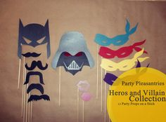 Party Pleasantries - HEROS & VILLAINS Collection - Photo Props on a Stick Set on Etsy, $28.00