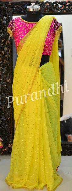 Yellow Dots Chiffon saree comes with stitched blouse Stylish Dress Designs, Fancy Blouse Designs, Saree Blouse Designs, Kurta Designs, Yellow Saree, Yellow Blouse, Shiffon Saree, Desi Wedding Dresses, Saree Wedding