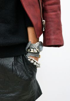 Karmen Pedaru In Leather Shorts And Arm Jewellery