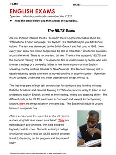 English Exams, IELTS, English, Learning English, Vocabulary, ESL, English Phrases, http://www.allthingstopics.com/english-exams.html