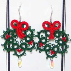 Wreath Earrings, Hand Tatted, Unique Christmas Dangles, Beaded