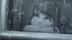 """""""I mis you"""" - Started with a blanc piece of digital paper and just sketched this sad girl out of nothing. Why is she so sad? :( Iike it? Pin it!"""