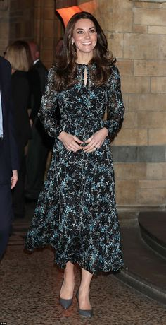 22 November 2016 - Catherine attends a children's tea party at the Natural History Museum in London - dress by L.K. Bennett