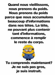 Quand on est vieux... Citation Minion, Funny Quotes, Funny Memes, Some Jokes, French Quotes, Minions Quotes, Adult Humor, Wtf Funny, How To Look Better