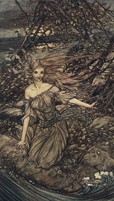 """Undine by Arthur Rackham - """"He saw by the moonlight momentarily unveiled, a little island encircled by the flood; and there under the branches of the overhanging trees was Undine."""""""