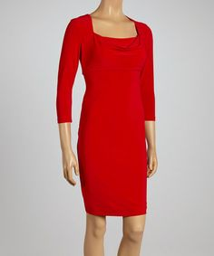 Another great find on #zulily! Lipstick Red Drape Neck Dress by Julian Taylor #zulilyfinds
