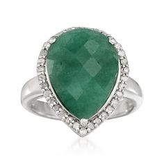 10.00 Carat Emerald and .30 ct. t.w. Diamond Ring in Sterling Silver