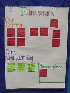 Schema, new learning, misconceptions chart