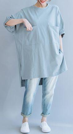 Handmade light blue cotton o neck pockets Vestidos De Lino summer shirts Iranian Women Fashion, Muslim Fashion, Hijab Fashion, Korean Fashion, Fashion Dresses, Hijab Stile, Mode Hijab, Dress Sewing Patterns, Fashion Sewing
