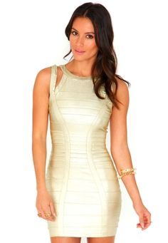 Ariana Bandage Cut Out Mini Dress In Gold by missguided
