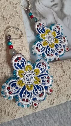lace earrings, naušničky krajkové