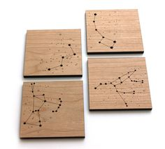 Wood Coasters - Star Constellations.