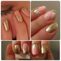 Inspired by @marienails  #nail #nails #nailpolish #naildesign #nailart #pink #gold #glitter