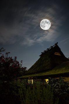 Moon in Miyama, Kyoto, Japan, by Tatsuya Kamikura, on TOKYO CAMERA CLUB.