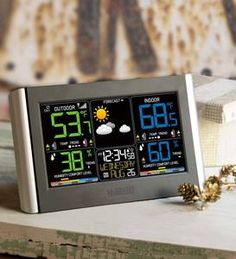 Get regular updates on local conditions with this Horizontal Color Wireless Weather Station by La Crosse®. Track all key weather data for your immediate … Weather Center, Weather Data, Atomic Time, Fairy Shoes, Weather Instruments, Charitable Donations, Wooden Snowmen, La Crosse, Wind Spinners
