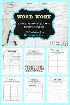 FREEBIE! Word Work collection for any words - includes sets for 5, 10 or 15 words from The Curriculum Corner via @TheCCorner