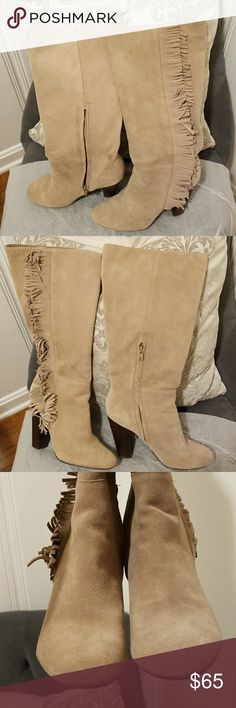 """GAP Tall Fringe Boots GAP Tall Fringe Boots in """"Iced Taupe"""" that hit just below the knee. I'm 5 feet tall and they are knee high on me. Only worn twice and they've been kept in a box the entire time. I've ironed the fringe before by placing a towel over the boot and using a warm iron, adjusting the heat as needed. These boots can be worn year round because of the color and style and would look cute with shorts, skirts, dresses and over skinny jeans...almost anything! Please feel free to ask…"""