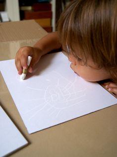 Pintando con acuarela y ceras / Painting with watercolor and crayons