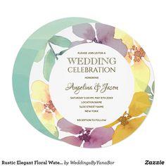 Shop Rustic Elegant Floral Watercolor Circle Wedding Invitation created by WeddingsByYanaBor. Yellow Wedding Invitations, Rustic Invitations, Floral Invitation, Zazzle Invitations, Party Invitations, Watercolor Circles, Floral Watercolor, Rustic Elegance, Rustic Design
