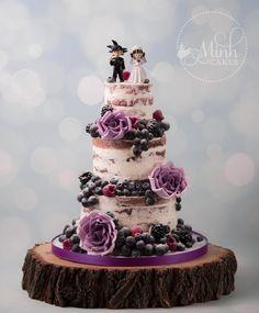 Naked rustic floral Dragonball cake! Yummy red velvet cake inside. Purple berries outside :) September 2016