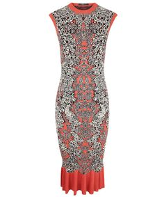 Coral and Lace Knitted Ruffle Dress, Alexander McQueen for Liberty