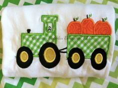 Pumpkin Tractor Onesie/ShirtFREE Personalization by ShopChasingBubbles on Etsy, $18.95