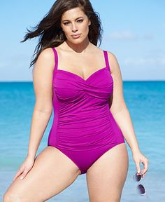 ec0cf2cb9e La Blanca Plus Size Ruched One-Piece Swimsuit Pool Wear