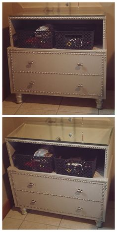 Upholstered Dresser w/Beveled Mirror Top    For my daughter- It's gorgeous and the inside even better, my daughter is a collector and cannot keep drawers organized. This is one drawer separated down the center so she can pile but divide.     Total investment $160 and approximately 4 hours. Similar products are selling at Pier 1 with lesser quality fabrics and glass for $375-$675... and even more from some other online stores.  Made with Love