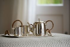Kitchen and dining style inspiration and ideas: Pichola Silver Milk Jug & Sugar Bowl | Luxury Metal Serveware | Lizard Orchid