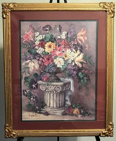 homco home interiors picture artist barbara mock old world floral vgc gold frame