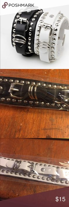 BUY 2 GET 2 FREE LEATHER ROCKER CHIC BRACELETS Black or white leather w silver hardware. About 9 inches long. Jewelry Bracelets