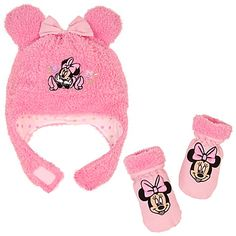 Plush Minnie Mouse Hat & Mitten Set for Baby Girls