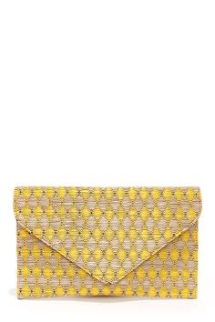 Weave Around Beige and Yellow Clutch at LuLus.com!