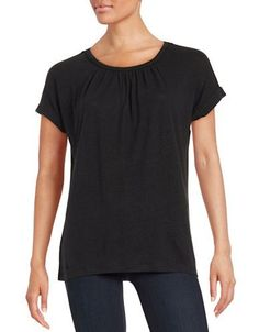 Lord & Taylor Pintucked Tee Women's Black X-Small