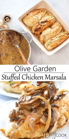 This Stuffed Chicken Marsala Recipe from Olive Garden is easy to make at home with the exact recipe from the restaurant itself! This Stuffed Chicken Marsala Recipe from Olive Garden is easy to make at home with the exact recipe from the restaurant itself! Easy Chicken Recipes, Meat Recipes, Dinner Recipes, Cooking Recipes, Stuffed Chicken Recipes, Home Recipes, Vegetarian Recipes, Receitas Do Olive Garden, Olive Garden Recipes