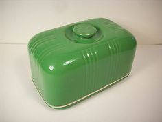 RARE VTG HALL CHINA BINGO or ZEPHYR LETTUCE COVERED ONE-POUND BUTTER DISH  Bidding war got it up to $224