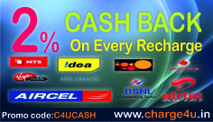 Use The Promocode:C4UCASH And Get 2% Cashback On Every Recharge. http://www.charge4u.in chargeforu.blogspot.com #Onlinemobilerecharge #Charge #Mobile #Datacard #Dth